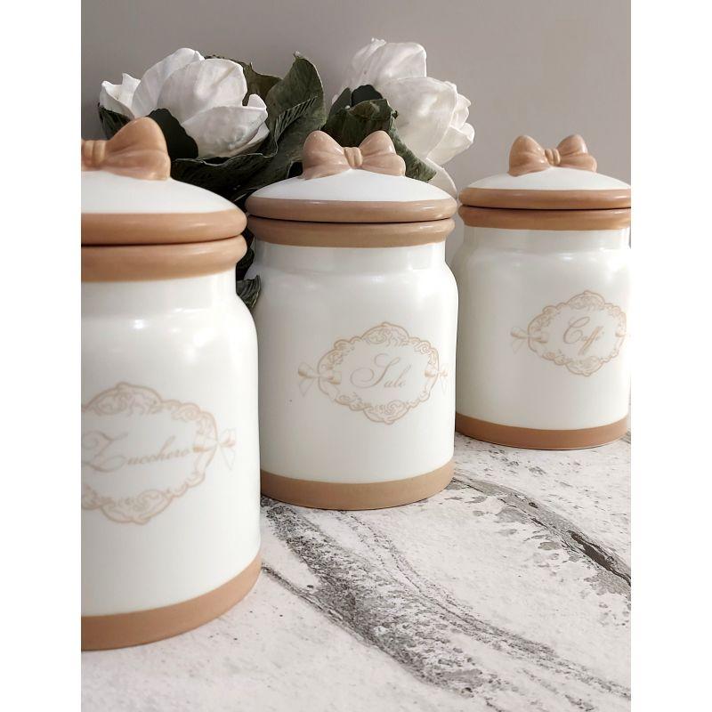 3 barattoli sale zucchero caffe shabby in ceramica bianca country chic romantic 3 Ingrosso Casalinghi da oltre 50 anni